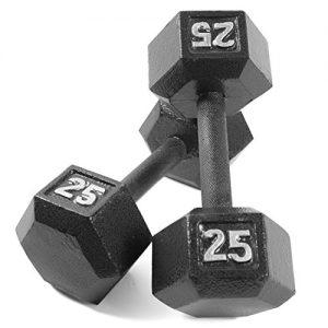 CAP Barbell Cast Iron Hex Dumbbell (Pair)  Black  25 lb