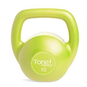 Tone Fitness Vinyl Kettlebell  Lime  10-Pound